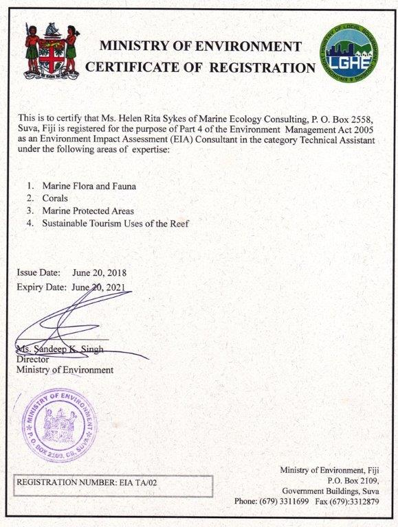Fiji Ministry of Environment EIA consultant registration - Helen Sykes